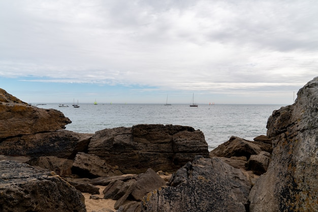 Beach rocks of the island of noirmoutier in vendee in france