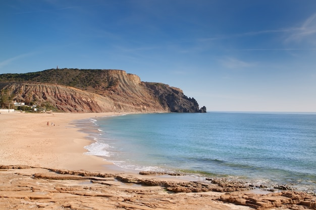 The beach on the rocky coast of portugal.