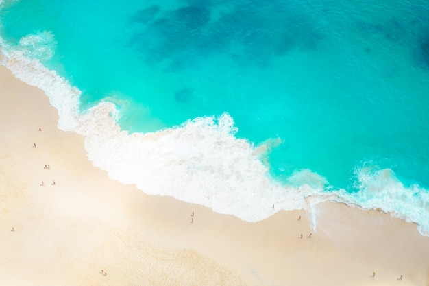 Beach and sand on the seashore with aerial view background