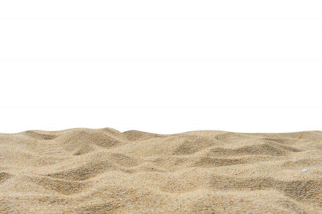 Beach sand texture di-cut white background.