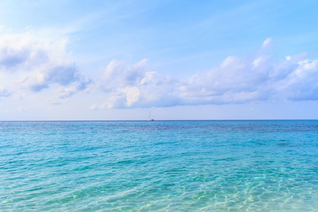Beach and  sky a beautiful  tropical  island in thailand