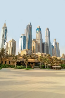 Beach and skyscrapers of the city of dubai