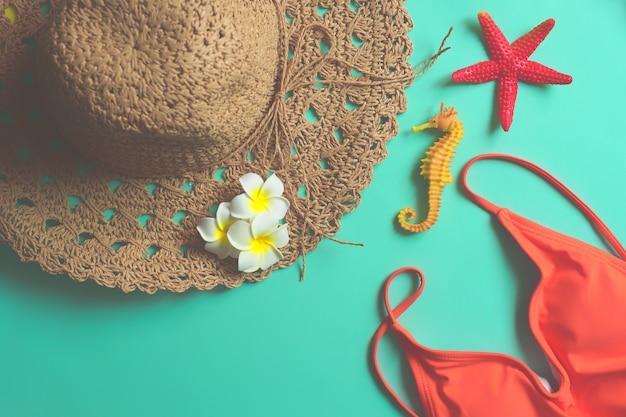 Beach summer travel holiday with accessories, top view tourist traveler or vacation concept.