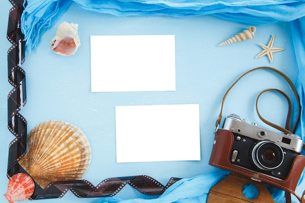 Beach summer vacation travel accessories top view, background