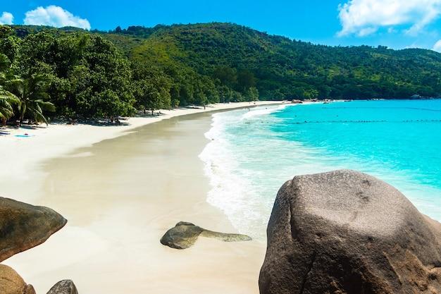 セイシェルのプラランの日光と青い空の下で海と緑に囲まれたビーチ