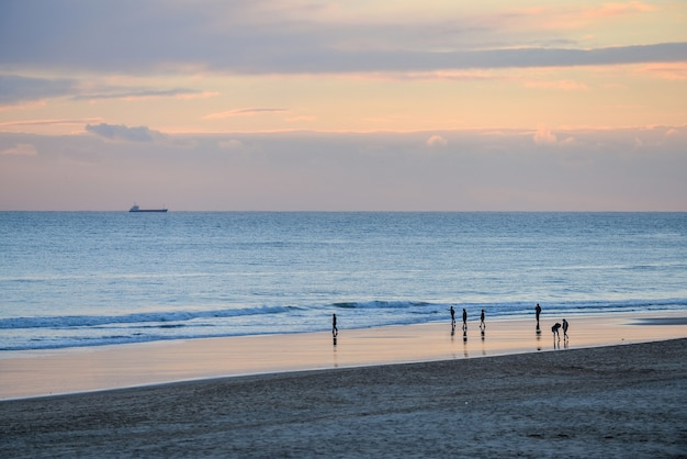美しい日没時に曇り空の下で海と人に囲まれたビーチ