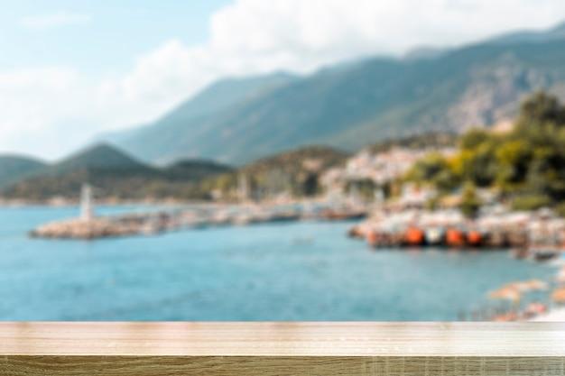 흐리게 풍경과 해변 테이블 배경