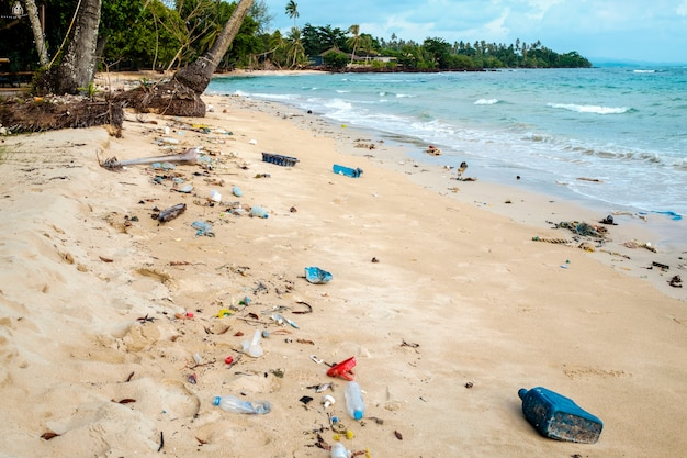 Beach in thailand ruined by heavy plastic pollution
