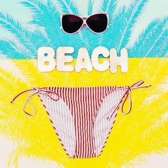 Пляжный сезон. стильное бикини и солнцезащитные очки для леди