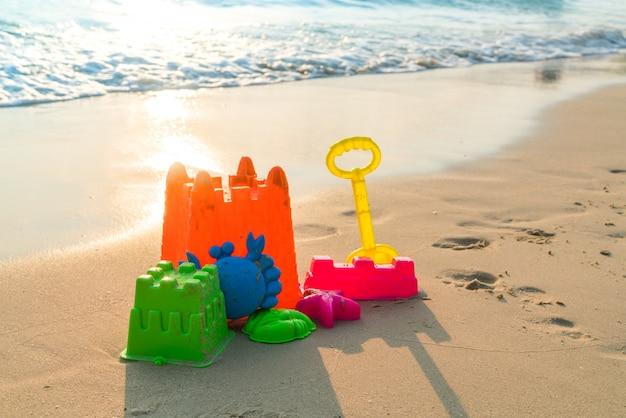 Beach toys on sea beach