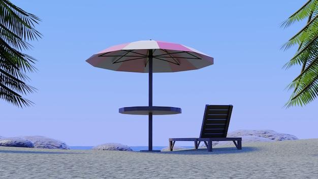 Beach umbrella chair enjoying blue sky with palm trees