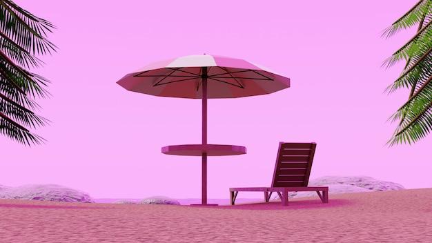 Beach umbrella chair enjoying pink sky with palm trees