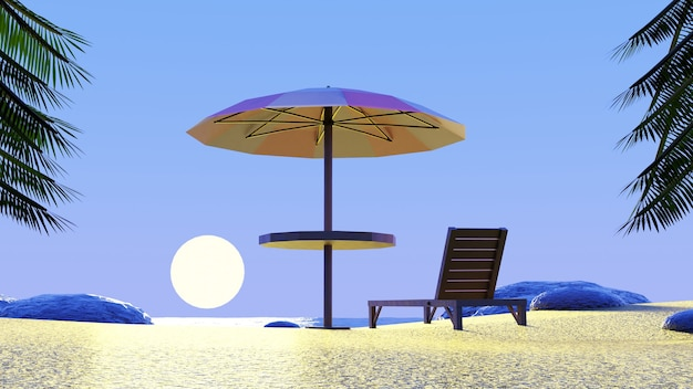 Beach umbrella chair enjoying sunset blue sky with palm trees in 3d render