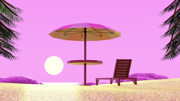 Beach umbrella chair enjoying sunset pink sky with palm trees in 3d render