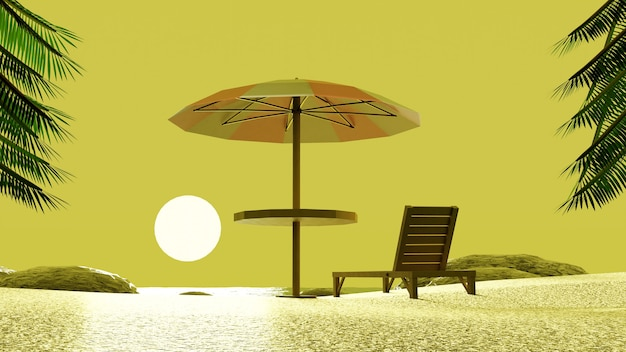 Beach umbrella chair enjoying sunset yellow sky with palm trees in 3d render