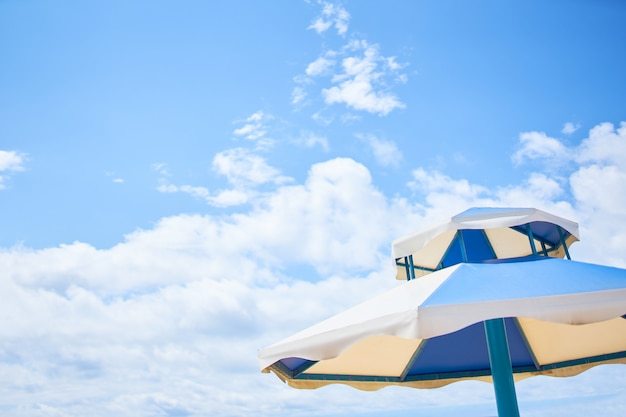 Beach umbrella on sunny day.