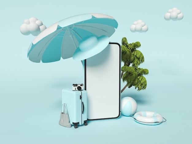 Пляжный зонт, дорожный чемодан, пляжный мяч, пальмы и смартфон. концепция путешествий и летних каникул.