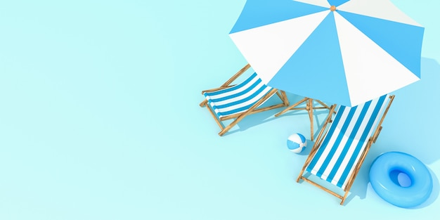 Beach umbrella with chairs on pastel colors wall. minimalism concept.