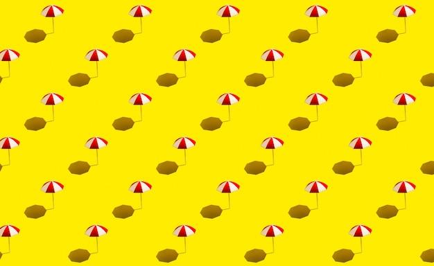 Beach umbrellas parasols on yellow background pattern. beach vacation concept.