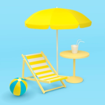 Beach vacation illustration on the theme of summer vacation tourism