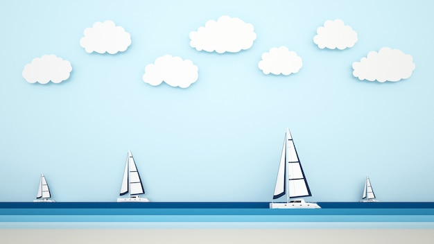The beach view and sailboat on the sea view