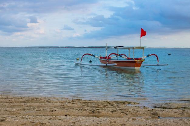 Beach view wood fish boat