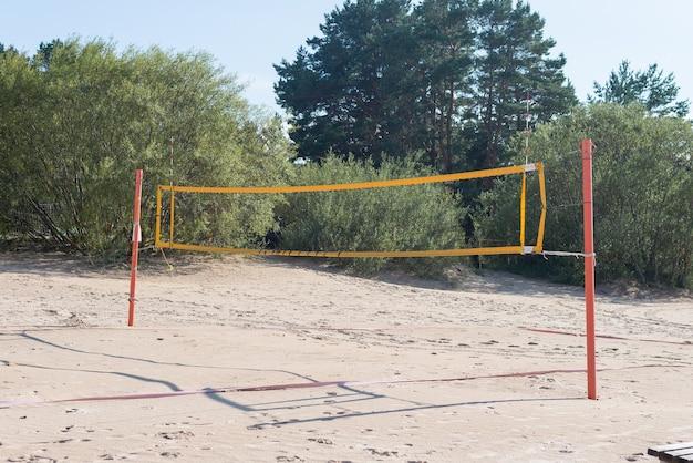Beach volleyball court, outdoor summer time