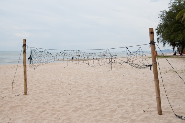 A beach volleyball net on the beach