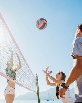 Beach volleyball scene close up view