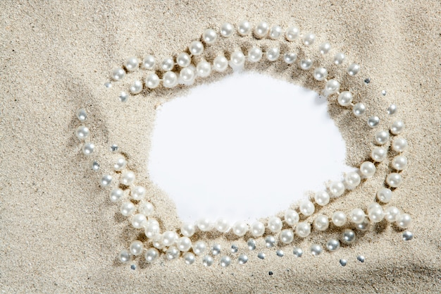 Beach white sand pearl necklace blank copy space