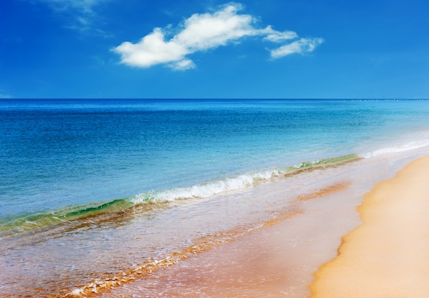 Beach with blue sea and white sand in blue sky