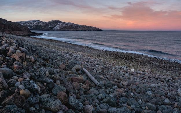 岩のあるビーチ。嵐によって岸に打ち上げられた丸太。バレンツ海の素晴らしいパノラマの山の風景。チェベルカ。