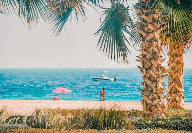 アラビア湾のヤシの木、桟橋、ボートのあるビーチ。