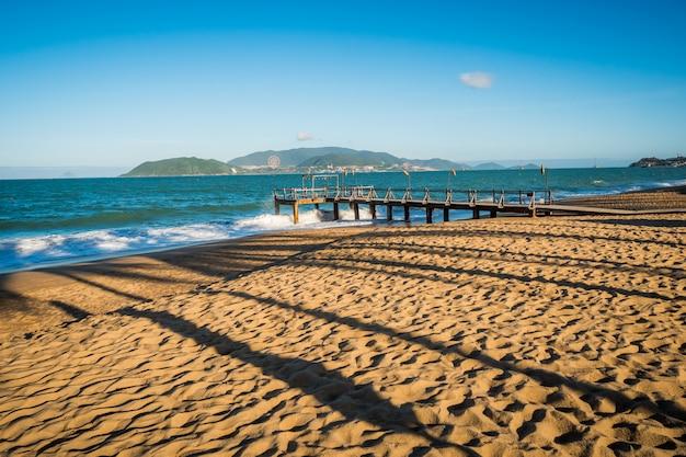 Beach with palm tree's shadows near ocean. pier with island behind