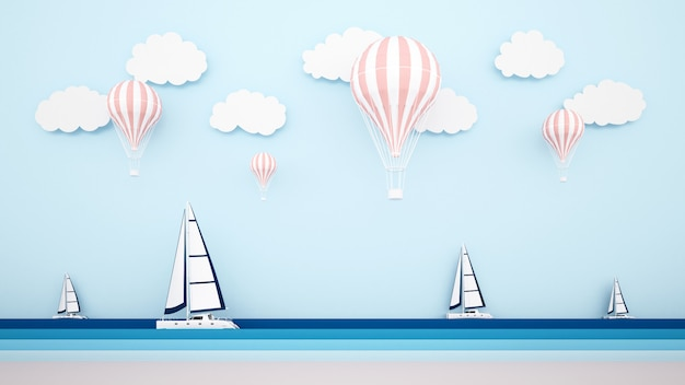 The beach with sailboat on the sea and balloons on the sky