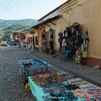 Bead necklaces for sale at market stall, barrio el centro, copan, copan ruinas, honduras