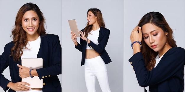 아시아 아름 다운 여자 손에 구슬 돌 손목입니다. 디지털 태블릿에서 비즈니스 거래 마술을 닫습니다. 유명한 별자리와 사랑 점성술 사람들의 팔찌 주문. vodoo 사물의 개념 장식