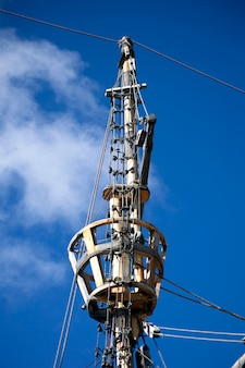 Beagle ship replica mast detail at punta arenas, chile