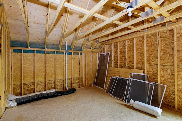 Beam framework frame house attic under construction interior inside a frame walls and ceiling material