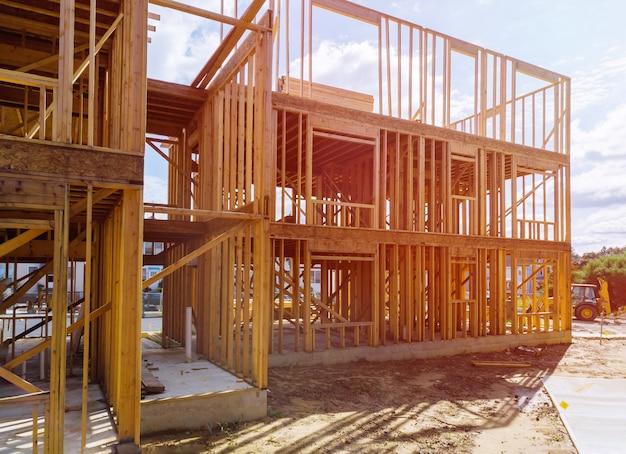 Beam stick built frame of new house under construction