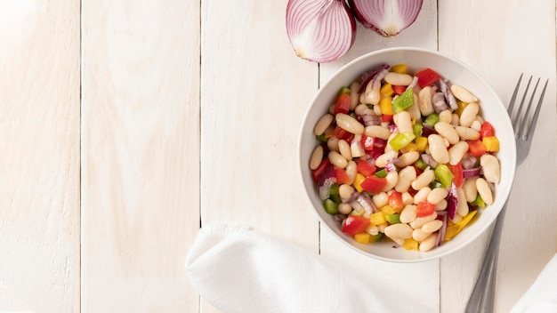 Bean salad mix copy space