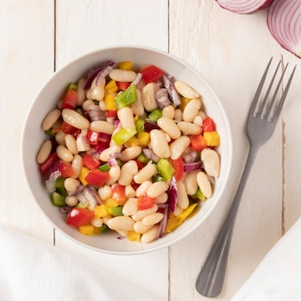 Bean salad mix top view