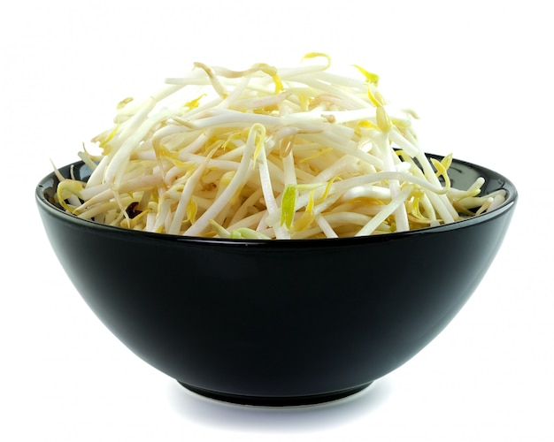 Bean sprouts in the black bowl
