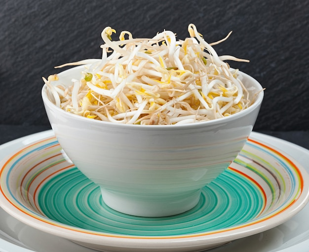 Bean sprouts of black slate tray