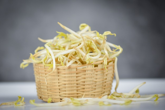 Bean sprouts cup on wooden