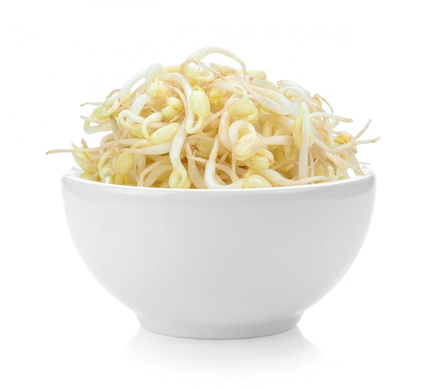 Bean sprouts in white bowl