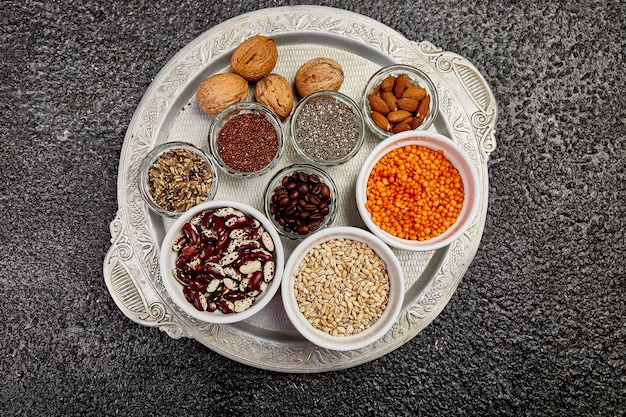 Beans and nuts selection in bowls
