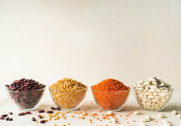 Beans, peas and lentils in bowls