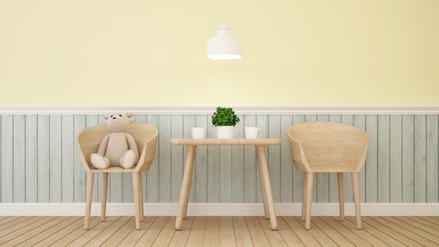 Bear doll on cafe or kid room - 3d rendering