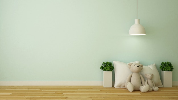 Bear doll and pillow in kid room or cafe - 3d rendering